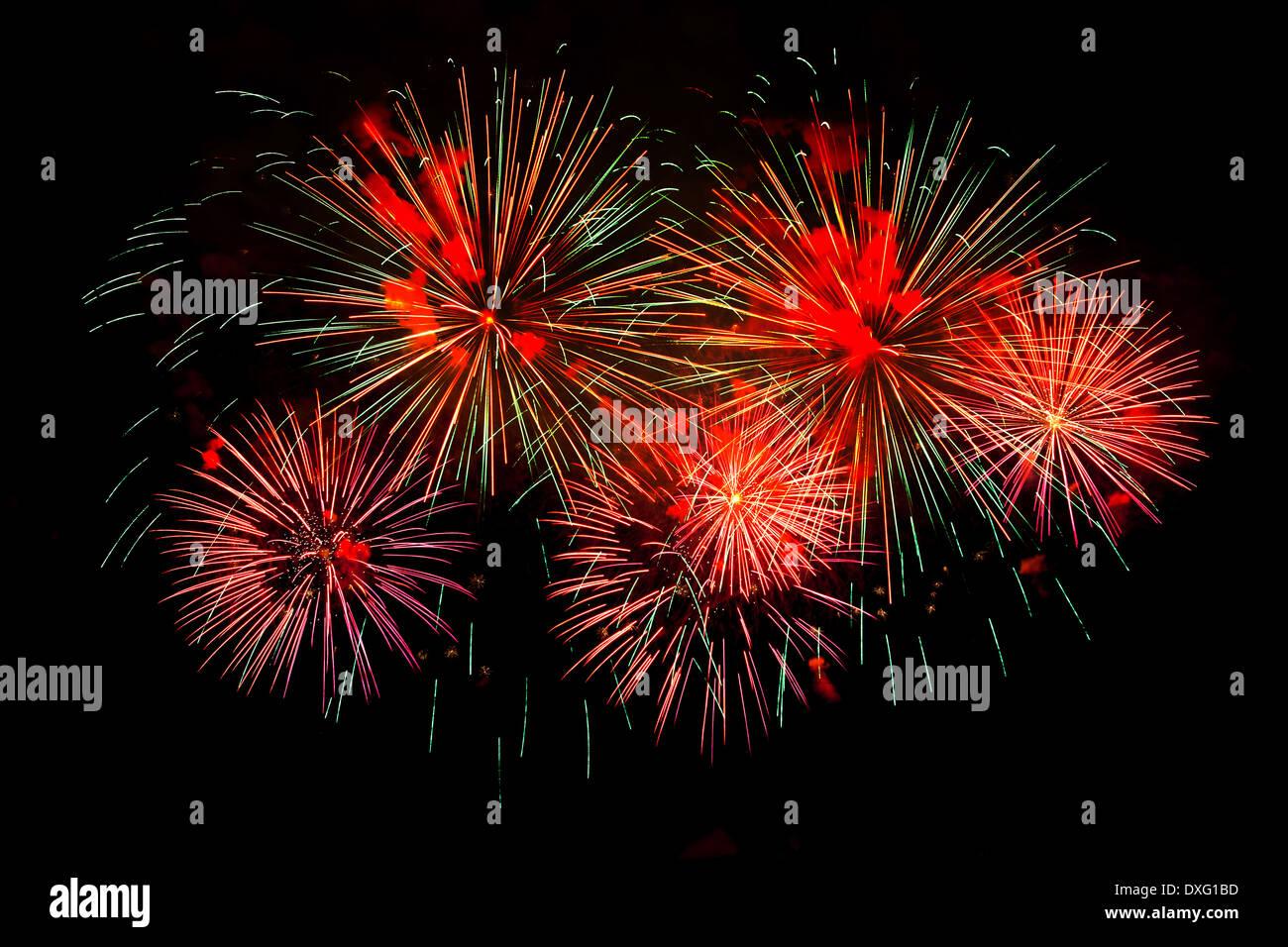 colorful firework on black sky - Stock Image