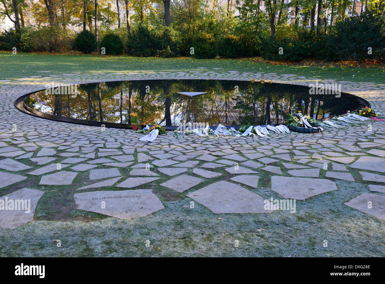 New memorial for the killed Sinti and Roma, Gypsy, during national socialism in Germany, Berlin-Tiergarten, Berlin, Stock Photo