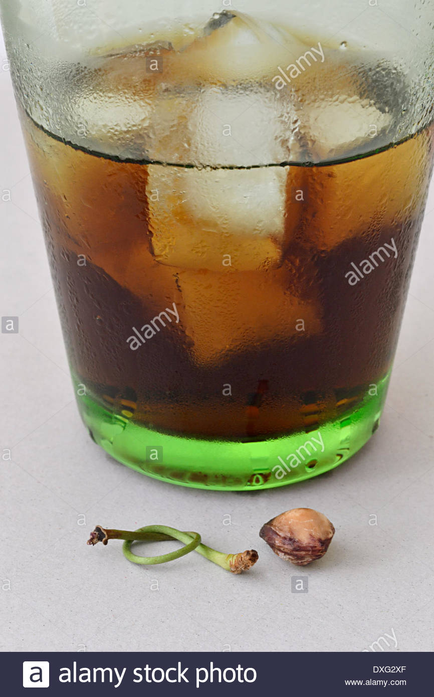 Not-so-virgin Cuba Libre. Cuba Libre cocktail (rum, coke and lime juice). Cherry in foreground with stem tied in a knot - Stock Image