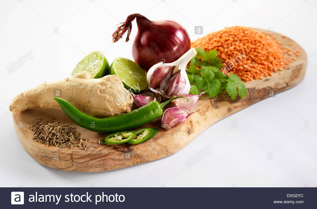 Ingredients For Indian Dahl On Wooden Board Stock Photo