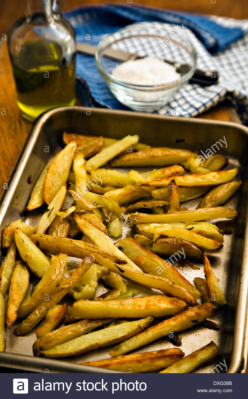 Homemade Oven chips - Stock Image