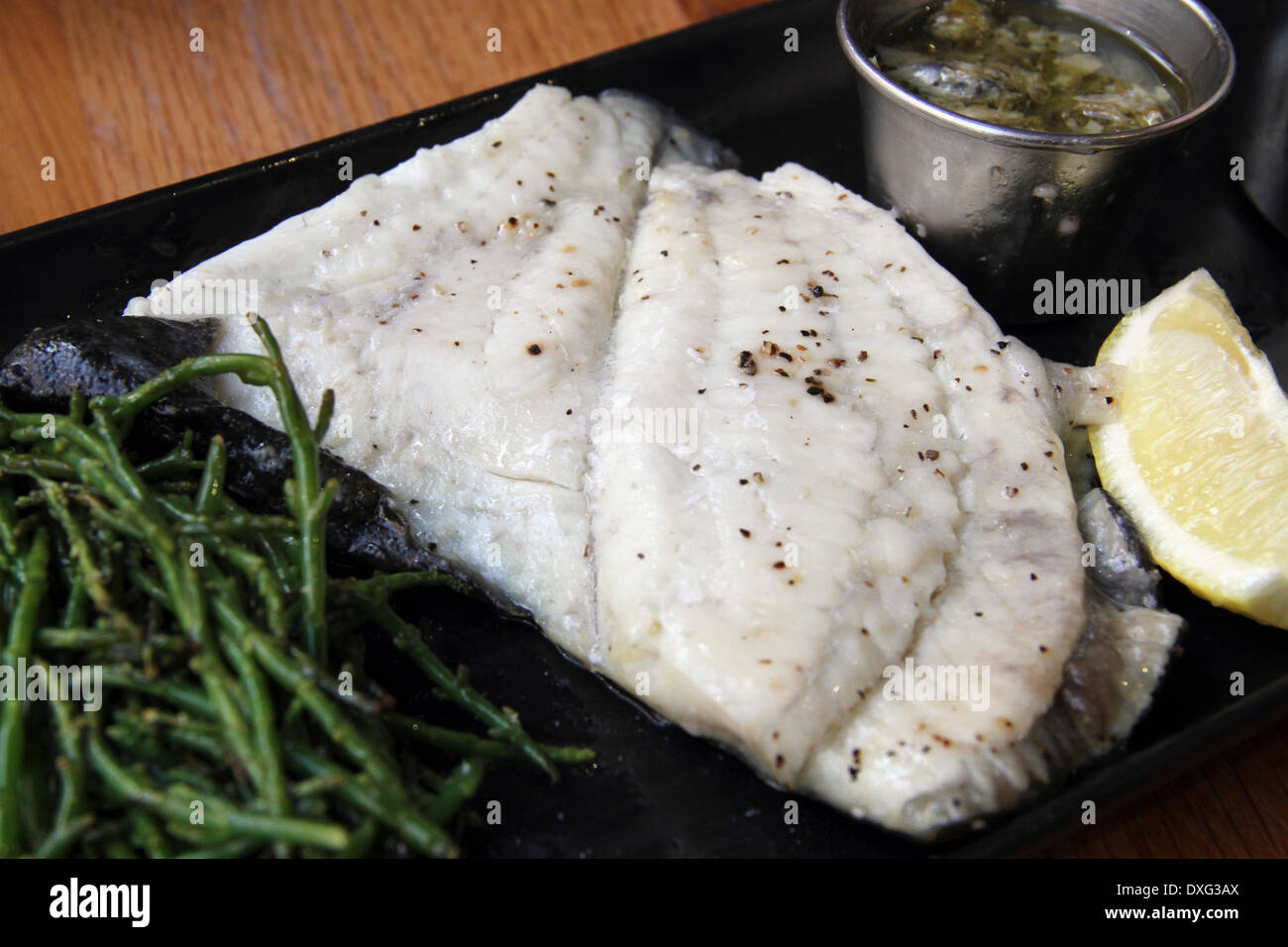 Dover Sole With Lemon And Capers. - Stock Image