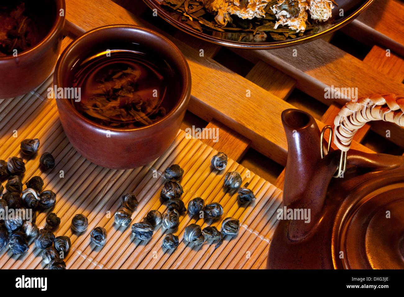 Chinese Jasmine Pearl Tea. - Stock Image
