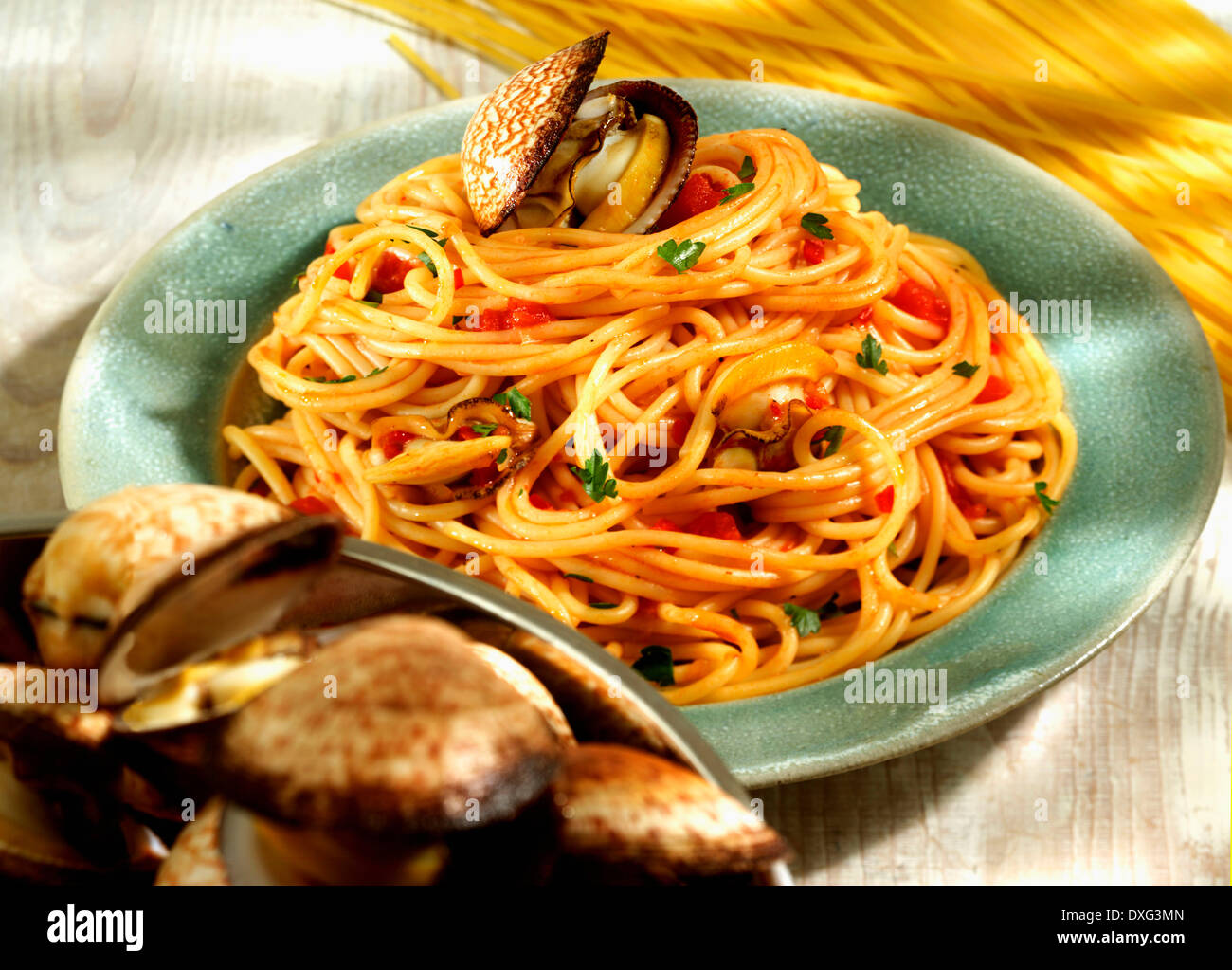 Plate Of Homemade Spaghetti With Clams - Stock Image