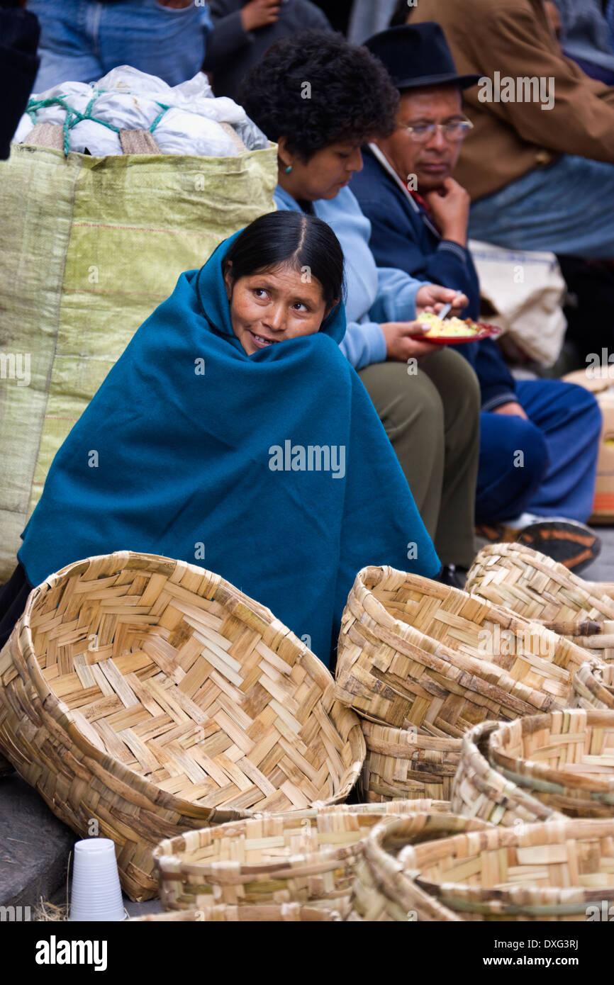 Ecuadorian woman at Otavalo Market in northern Ecuador. - Stock Image