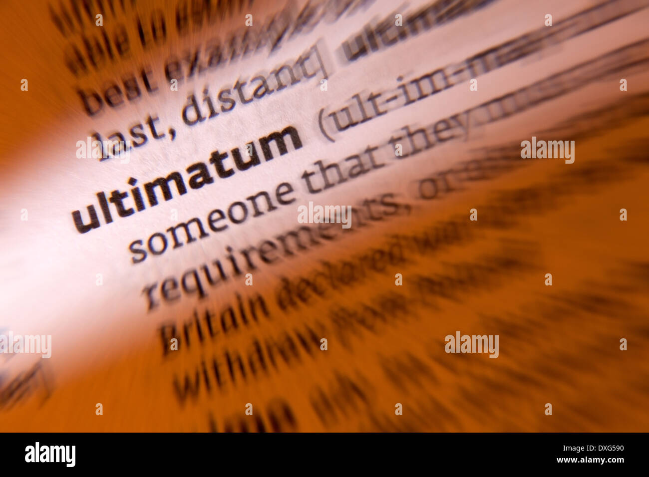Ultimatum - a final demand or statement of terms - Stock Image