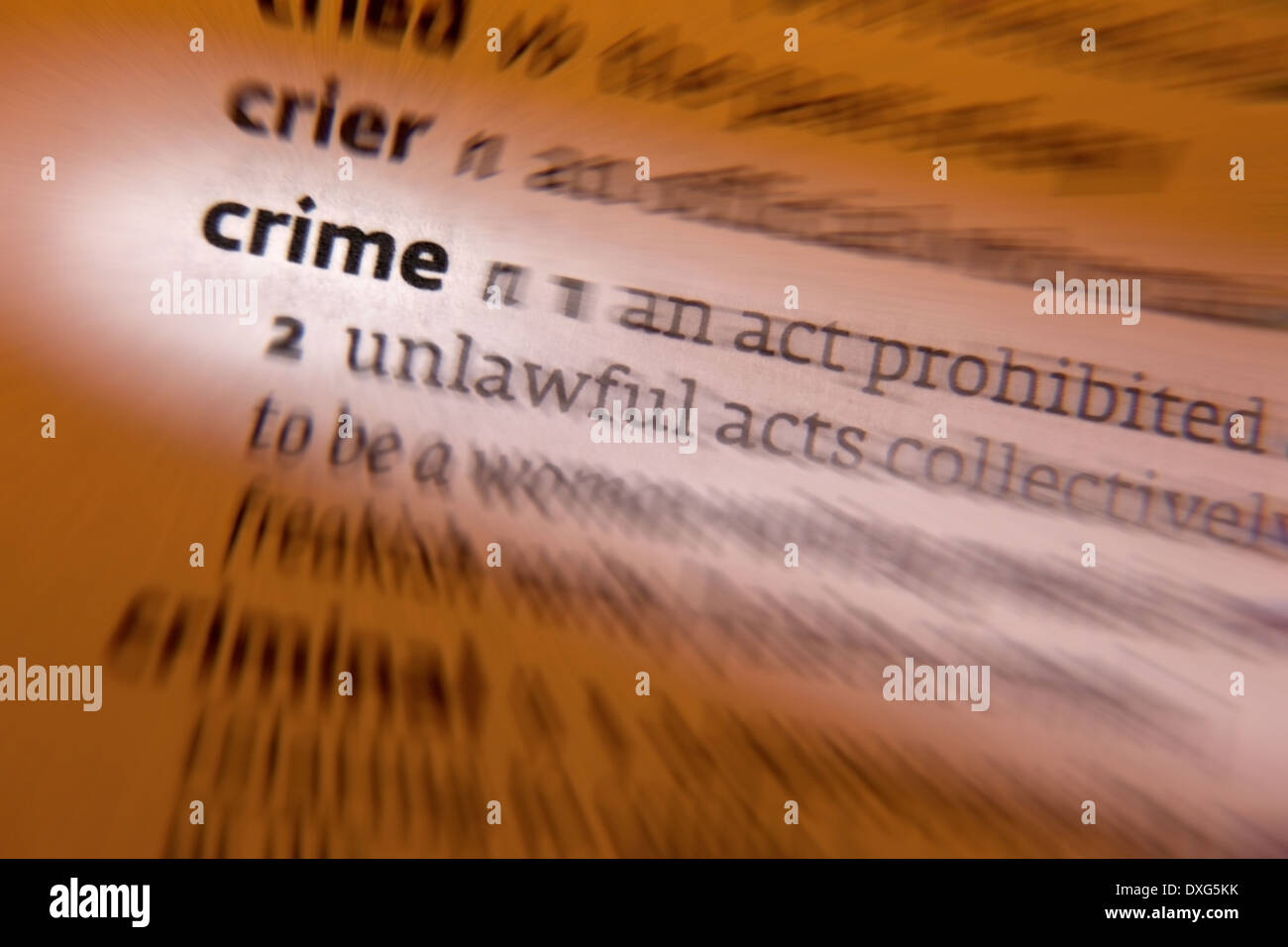 Crime - an action or omission that constitutes an offense that may be prosecuted by the state and is punishable - Stock Image