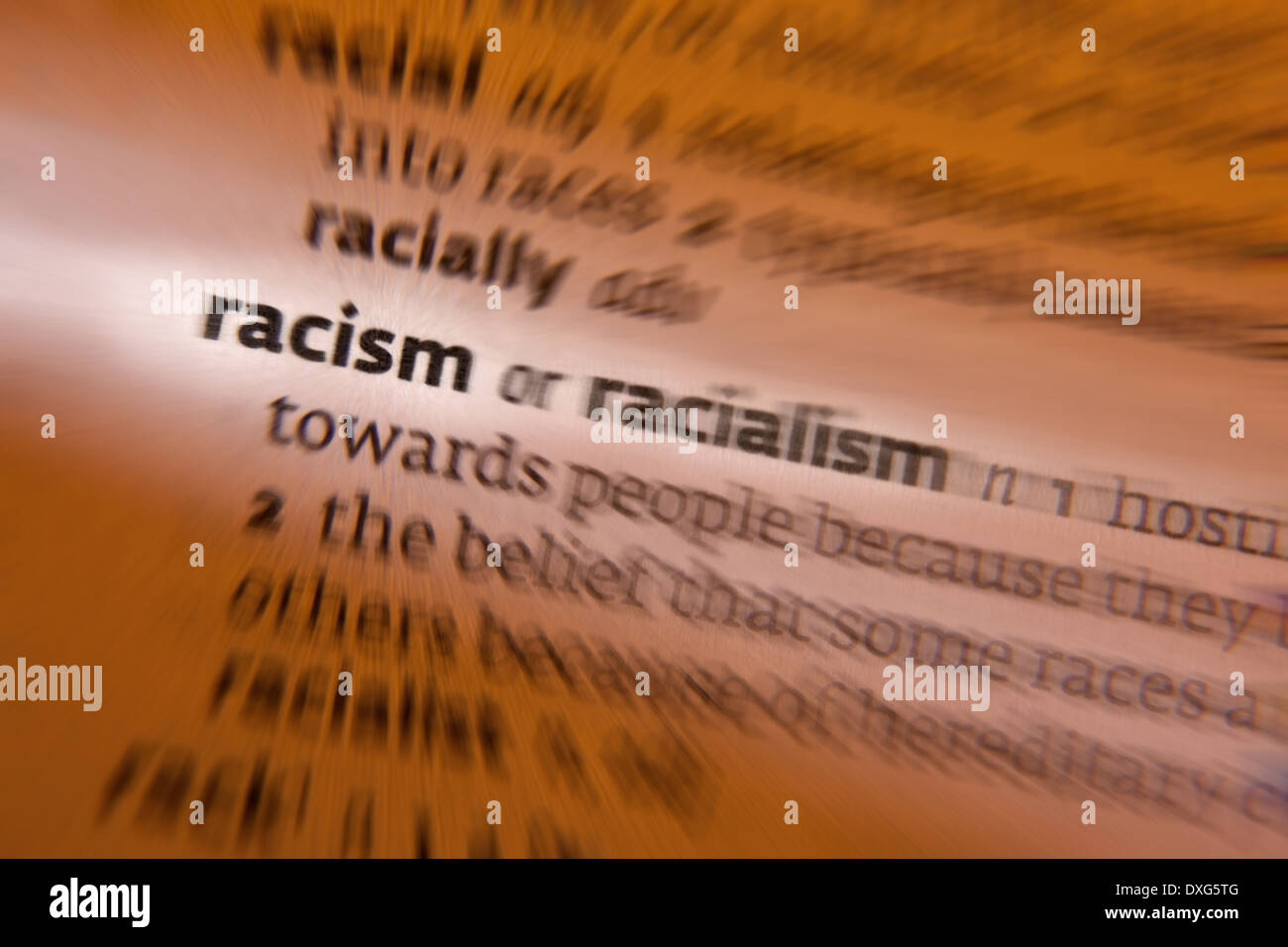 Racism - prejudice, discrimination, or antagonism directed against someone of a different race. - Stock Image