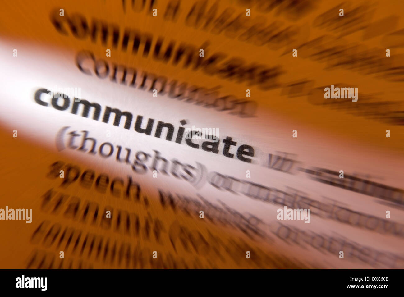 Communicate - to share or exchange information, news, or ideas. - Stock Image