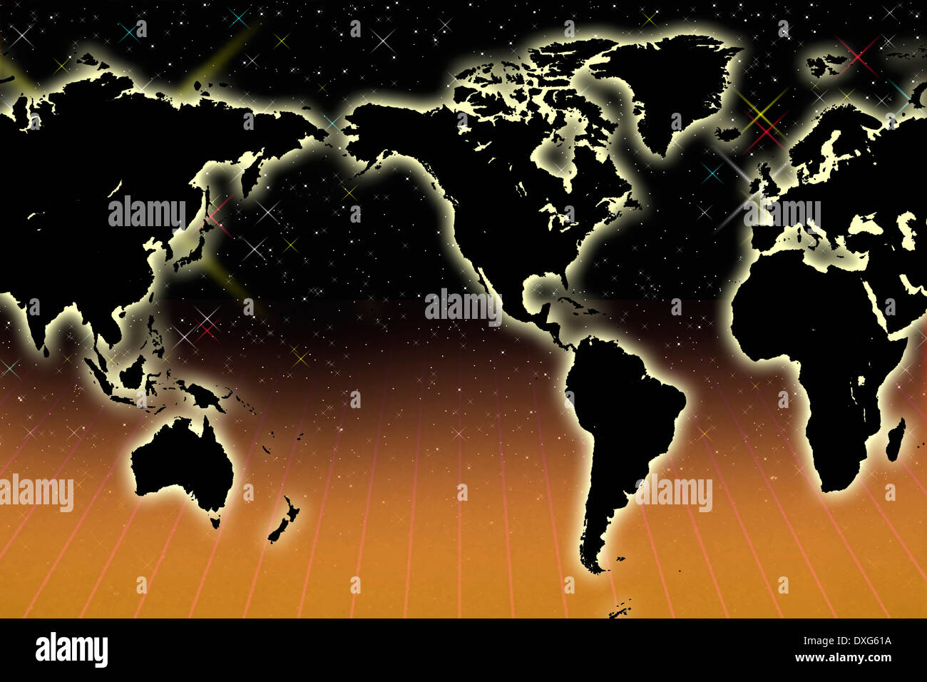 Map of the World - Centered on the Americas Stock Photo