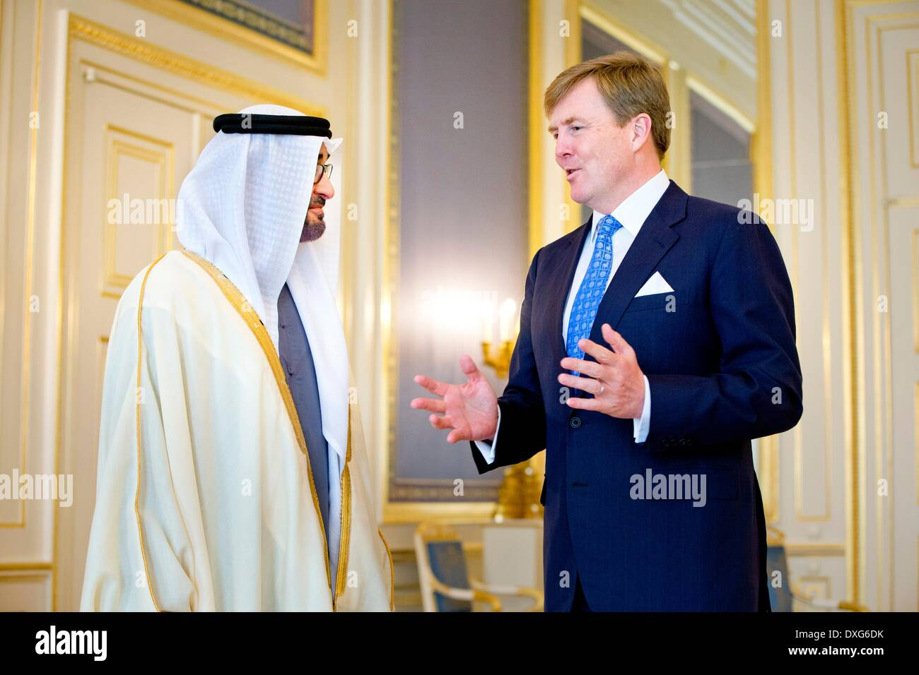 The Hague, The Netherlands. 25th Mar, 2014. Crownprince Sheikh Mohammed bin Zayed Al Nahyan of Abu Dhabi visits King Willem-Alexander during an audience at Palace Noordeinde in The Hague, The Netherlands, 25 March 2014. The Crownprince of Abu Dhabi visits the King on occasion of the Nuclear Security Summit NSS. Photo: Patrick van Katwijk - - - ATTENTION! NO WIRE SERVICE -/dpa/Alamy Live News Stock Photo