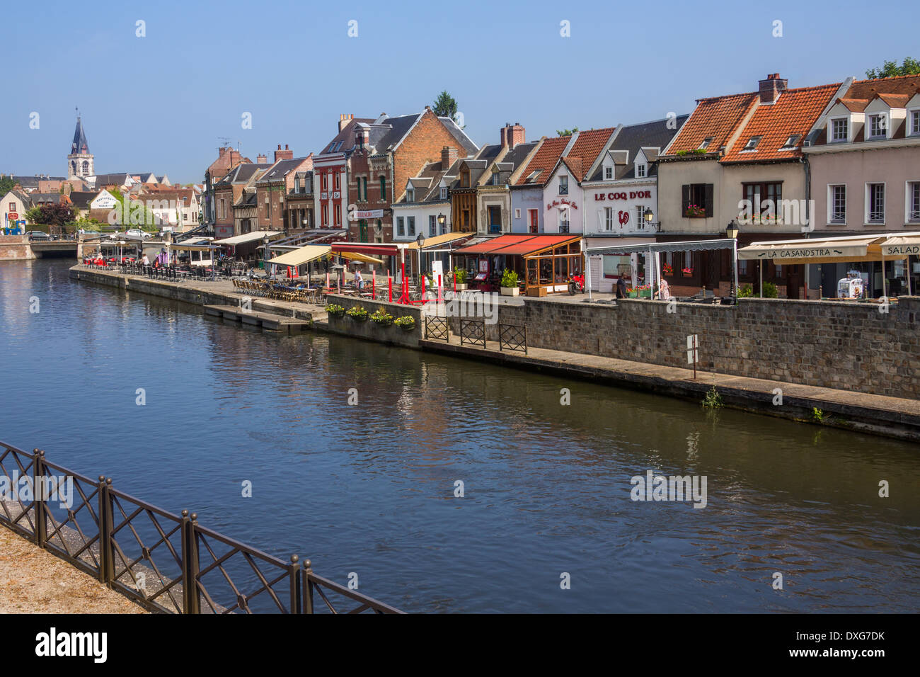 River Somme in the town of Amiens in the Picardy region of northern France. Stock Photo