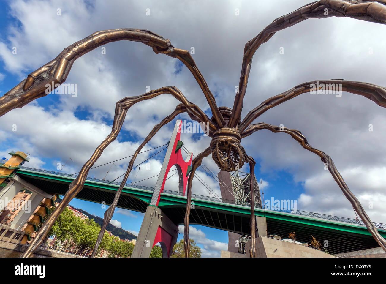 View of the Spider and the Puente de la Salve (Bridge) near the Guggenheim Museum, Bilbao, Spain. - Stock Image