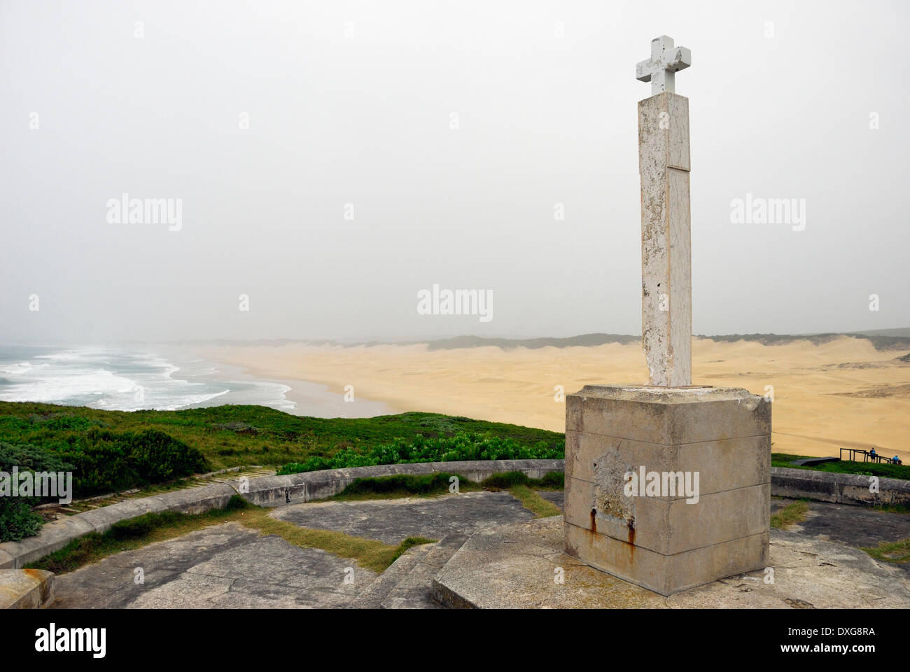 The Diaz Cross (replica) erected by Bartolomeu Dias in 1488, between Bushmans River mouth and Boknes, Eastern Cape, South Africa - Stock Image