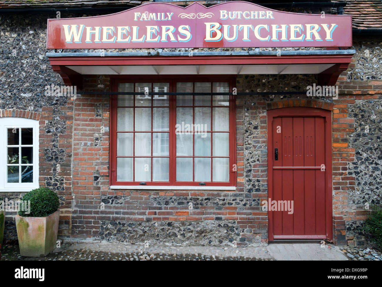 Wheelers butchery Hambleden village Buckinghamshire UK - Stock Image