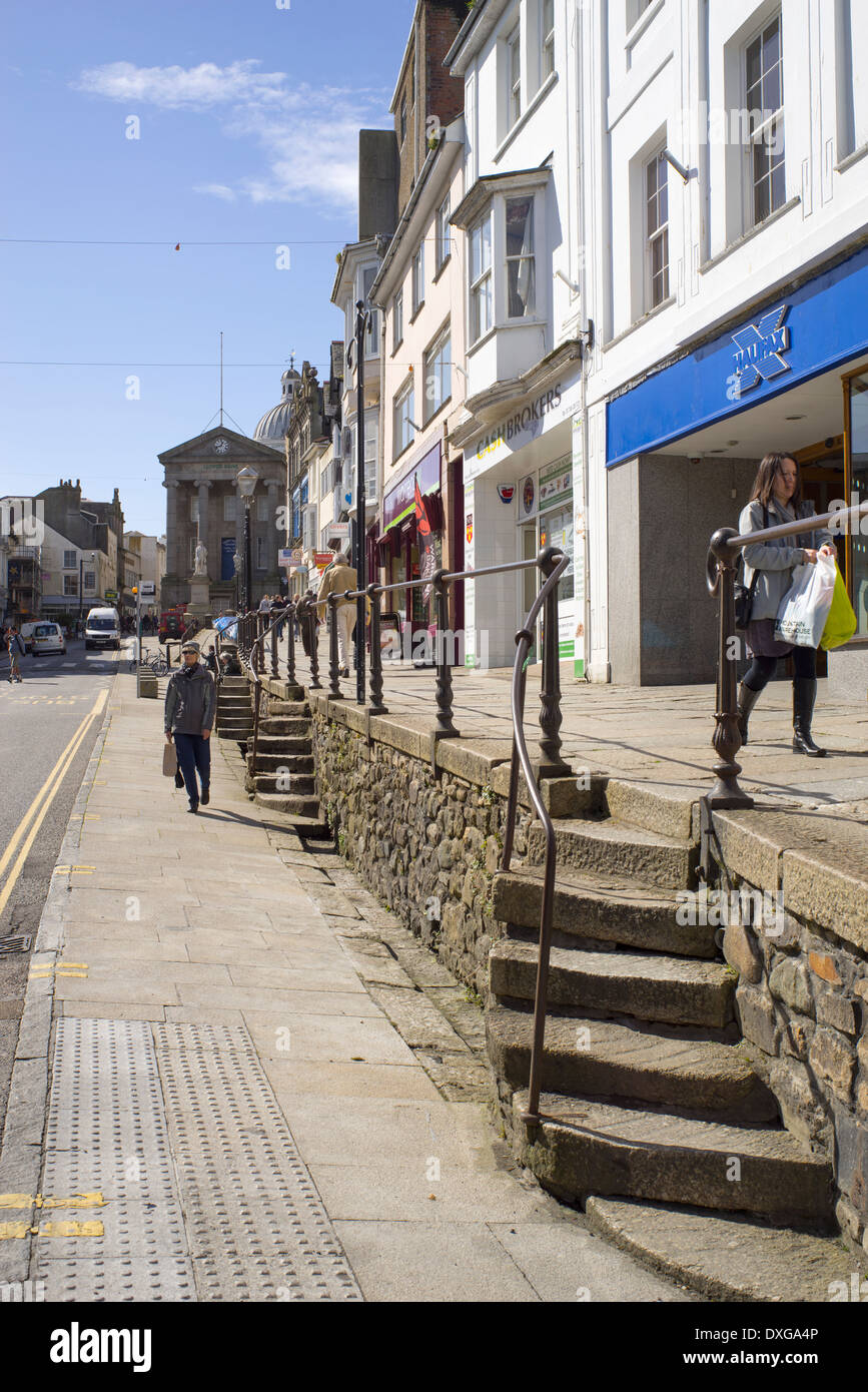 Market Jew Street in Penzance, Cornwall England. - Stock Image