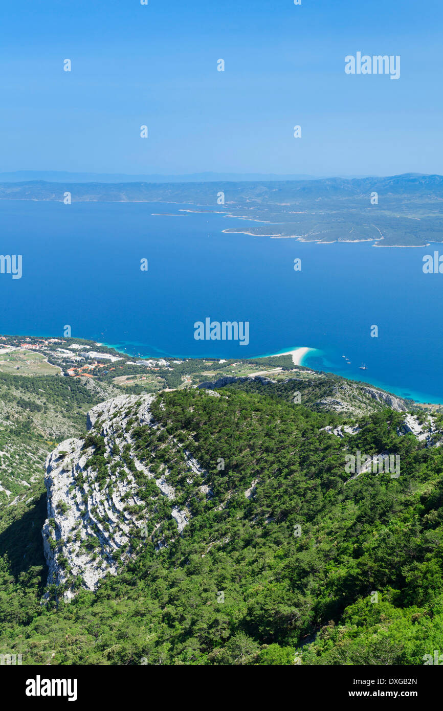 View from Vidova Gora on the town of Bol, Zlatni Rat or Golden Horn and the island of Hvar at the back, island of Brač - Stock Image
