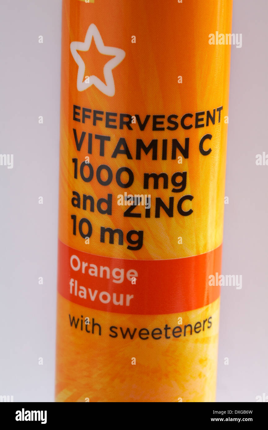 tube of Immune tablets - effervescent vitamin C 1000 mg and zinc 10 mg orange flavour with sweeteners - Stock Image