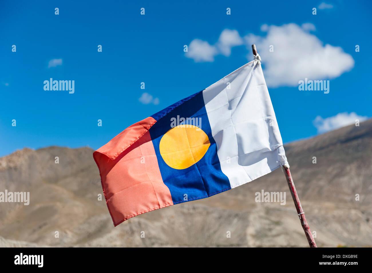 Buddhist flag, Lower Mustang, Himalayas, Nepal - Stock Image