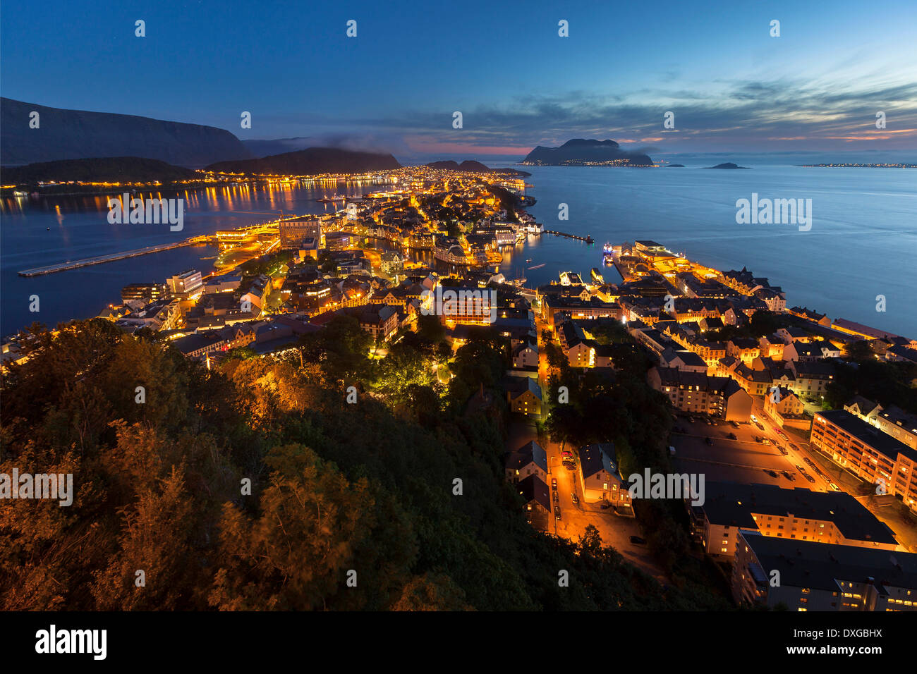View of the town of Alesund from Aksla hill, Ålesund, More og Romsdal, Norway - Stock Image