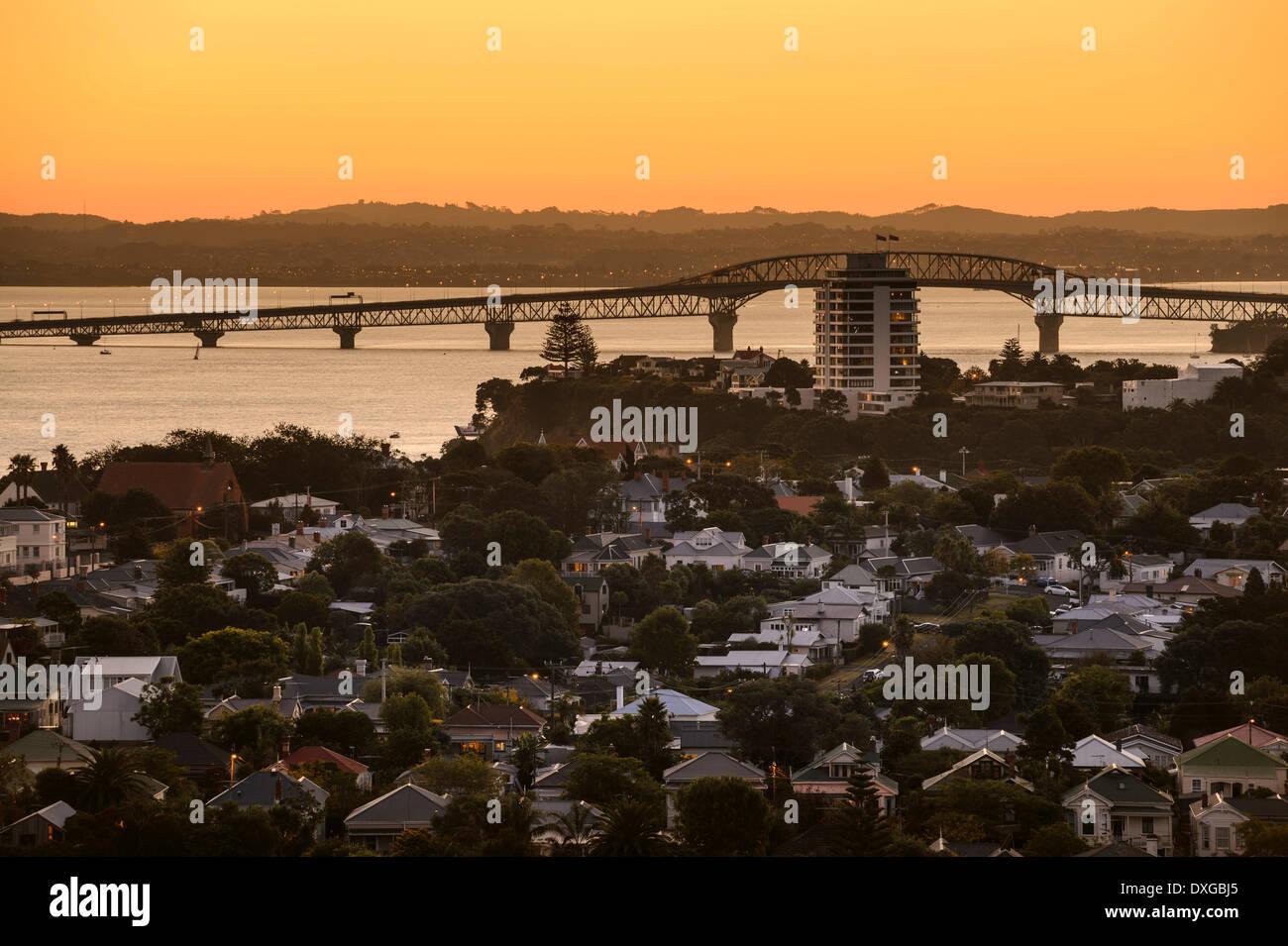 Harbour Bridge at dusk, Devonport, Auckland, North Island, New Zealand - Stock Image