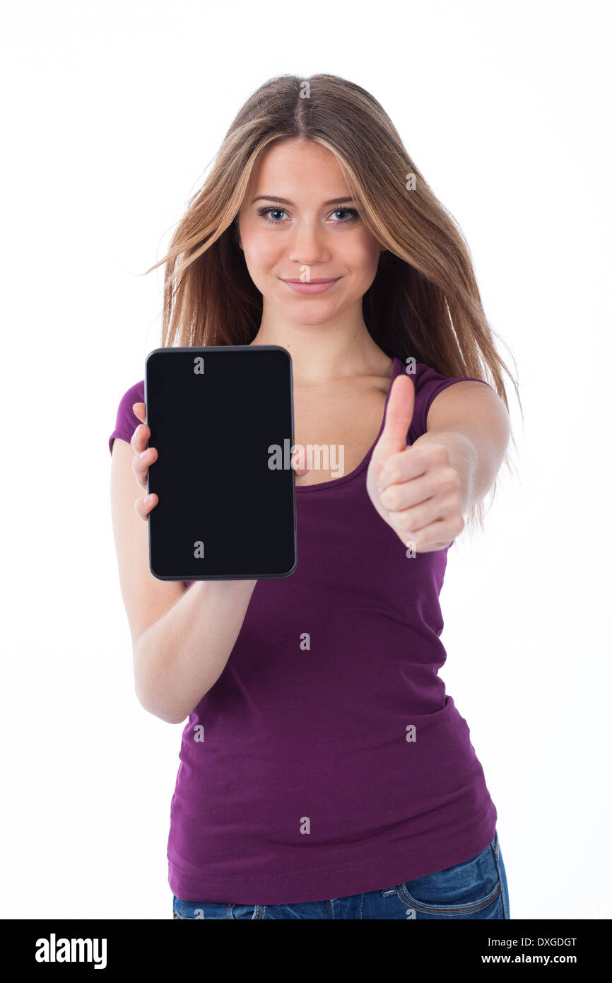 Cute woman showing an electronic tablet and having a positive gesture Stock Photo