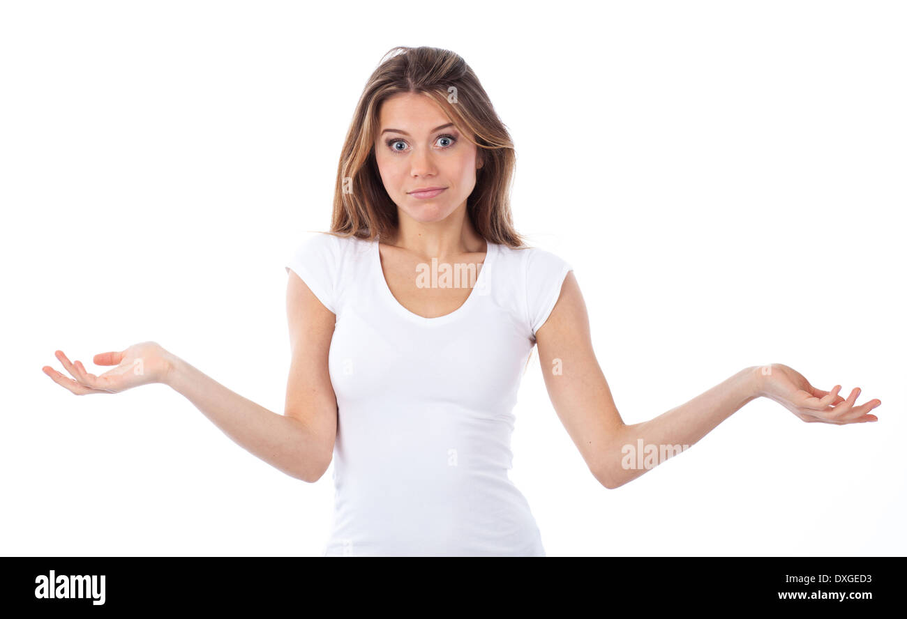 Portrait of a young woman having a doubting gesture, isolated on white - Stock Image