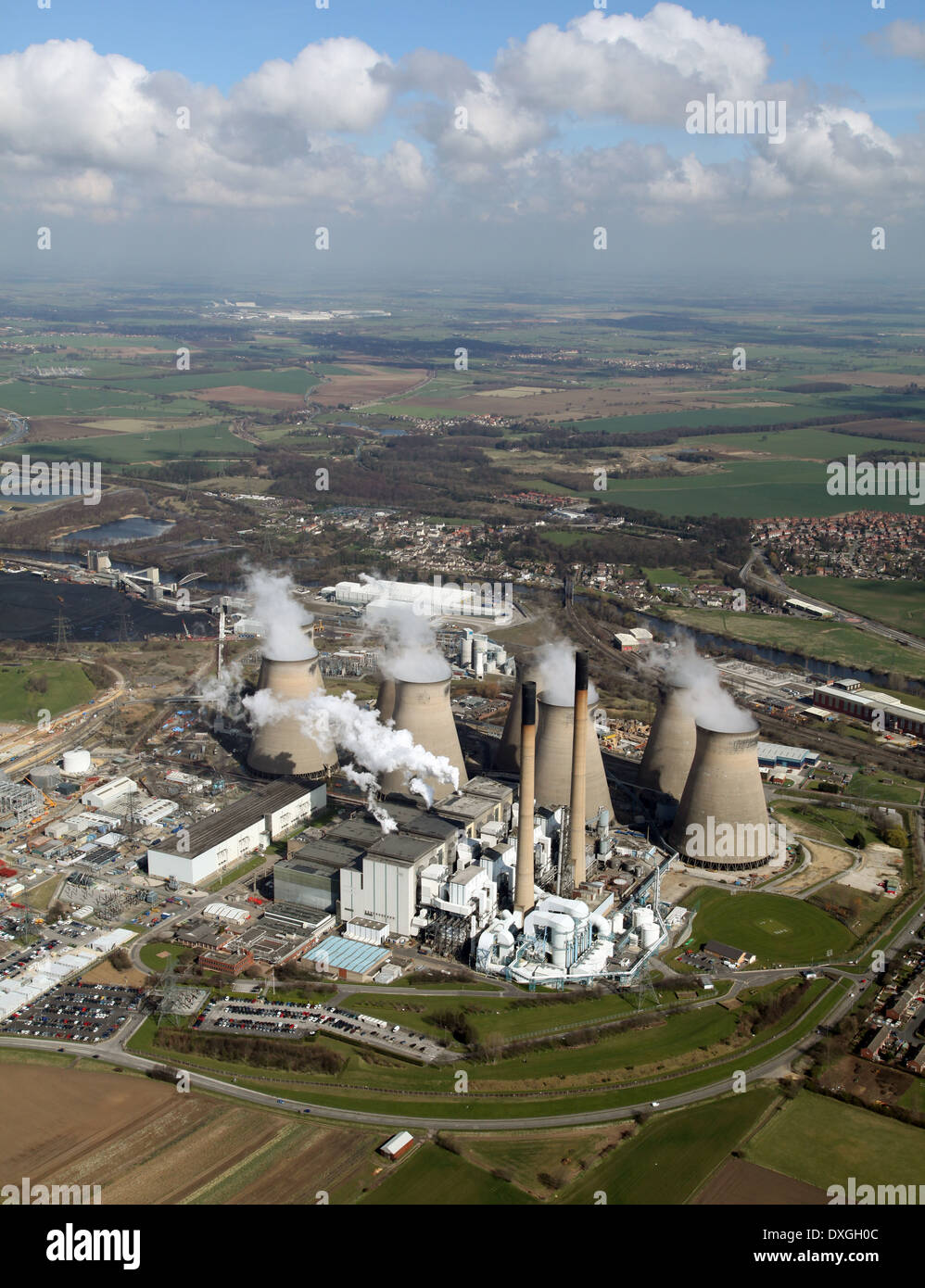 aerial view of Ferrybridge Power Station in Yorkshire Stock Photo