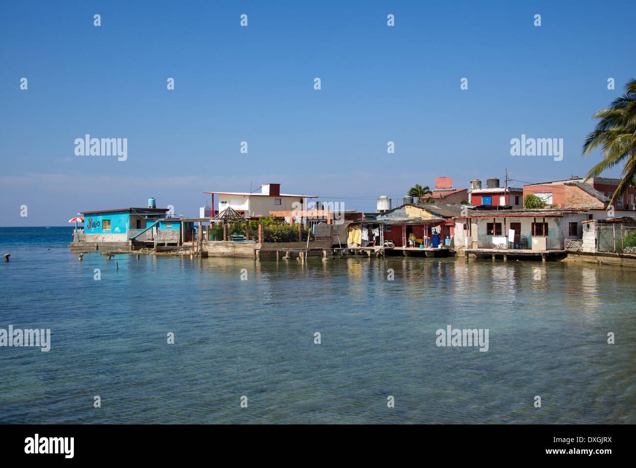 Fishermen's houses Playa Baracoa near Havana Cuba Stock Photo