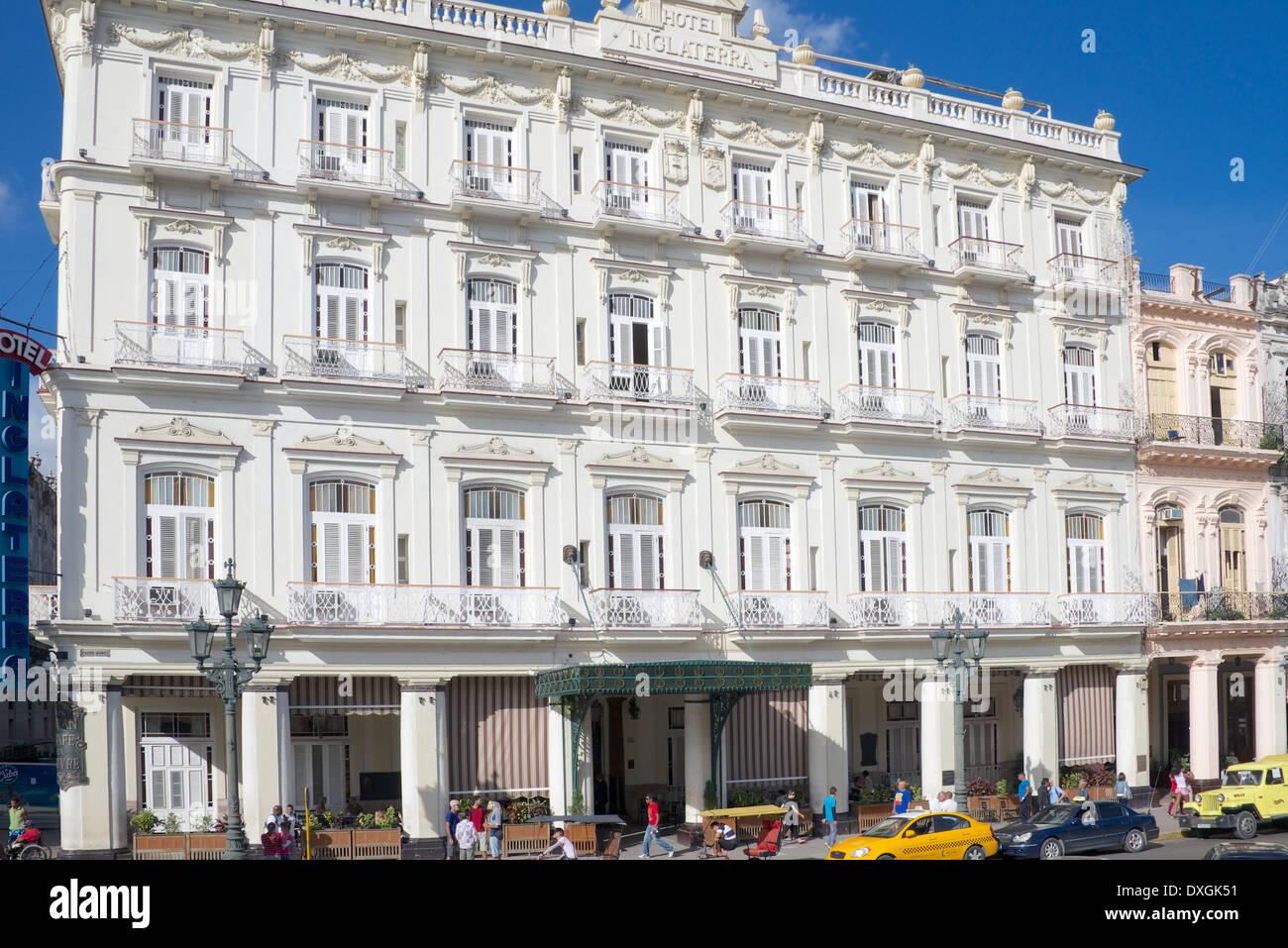 Hotel Inglaterra Paseo di Marti Central Havana Cuba - Stock Image
