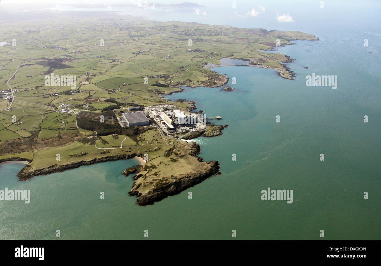 aerial view of Wylfa Nuclear Power Station on Anglesey - Stock Image