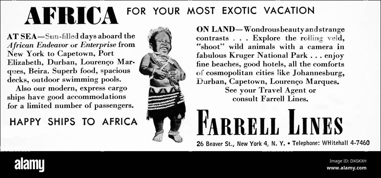 1950s advertisement for Farrell Lines holidays in Africa advert in American magazine circa 1954 - Stock Image