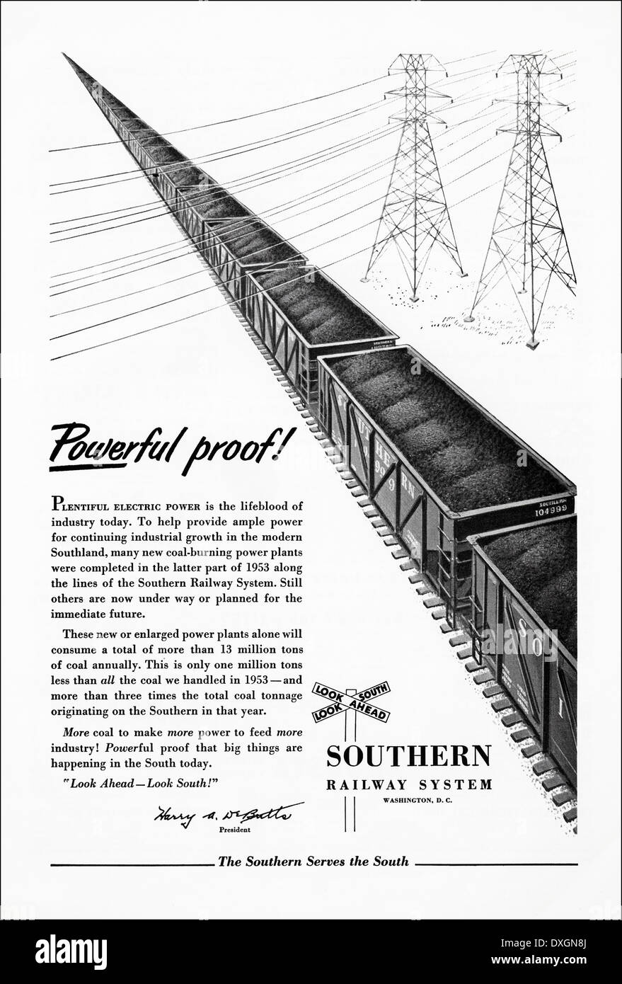 1950s advertisement for Southern Railway System coal transportation advert in American magazine circa 1954 - Stock Image
