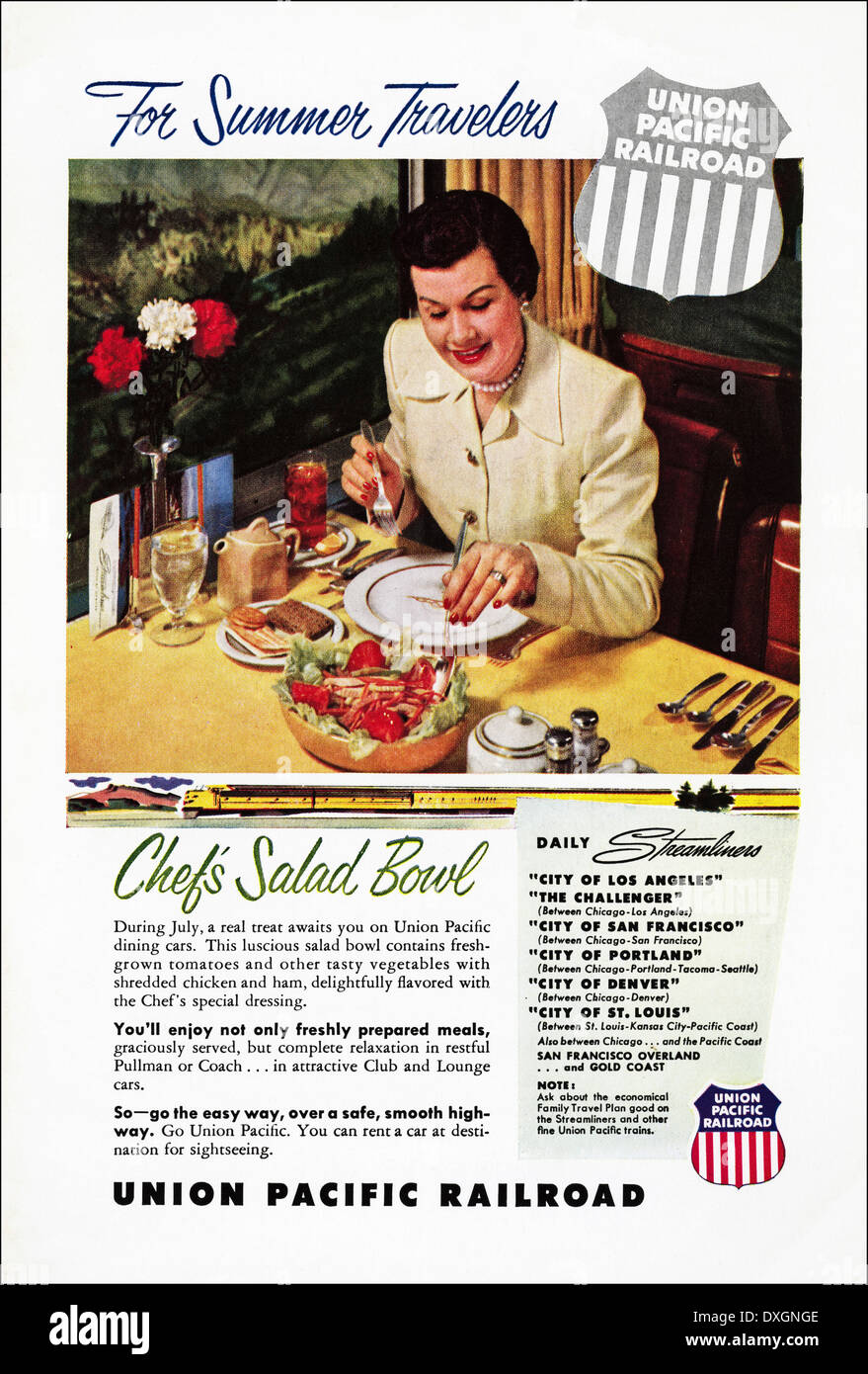 1950s advertisement for Union Pacific Railroad advert in American magazine circa 1954 - Stock Image