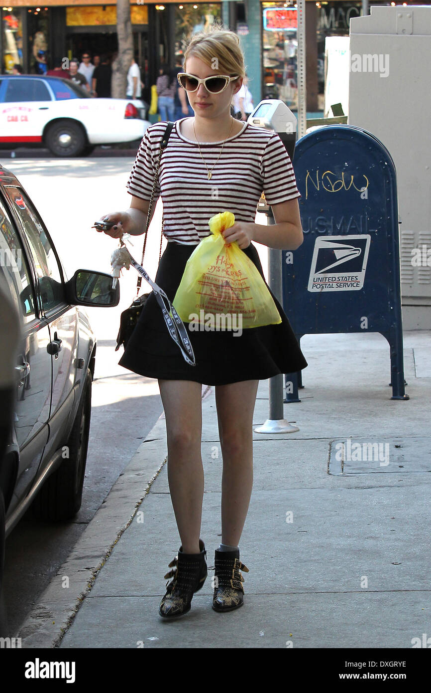 Emma Roberts And Her Boyfriend Evan Peters Seen Outside A Halloween Stock Photo Alamy