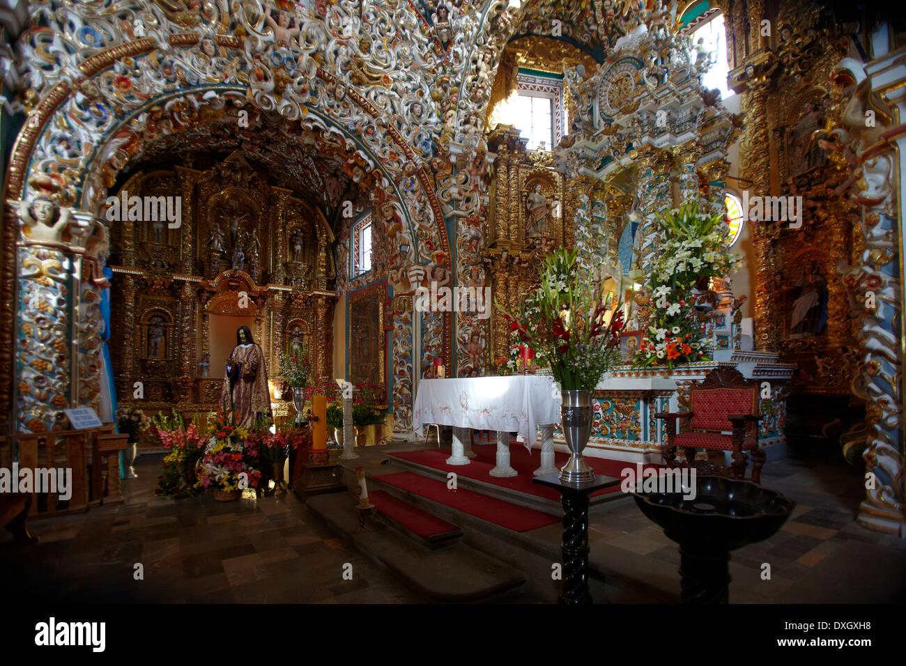 América, Mexico, Puebla state, Tonantzintla village, Santa María church inside Stock Photo