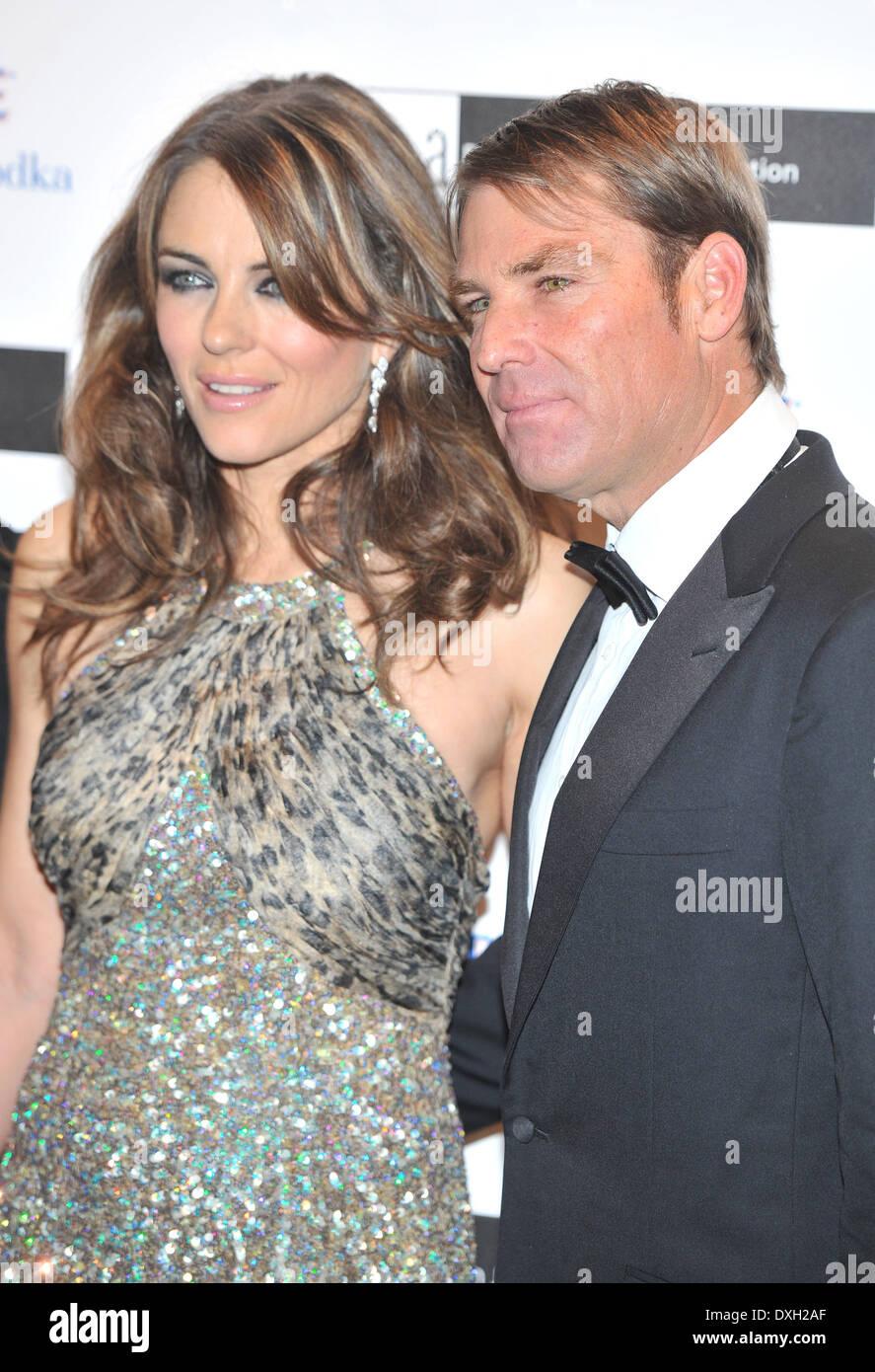 Elizabeth Hurley Shane Warne The Elton John Aids Foundation Grey