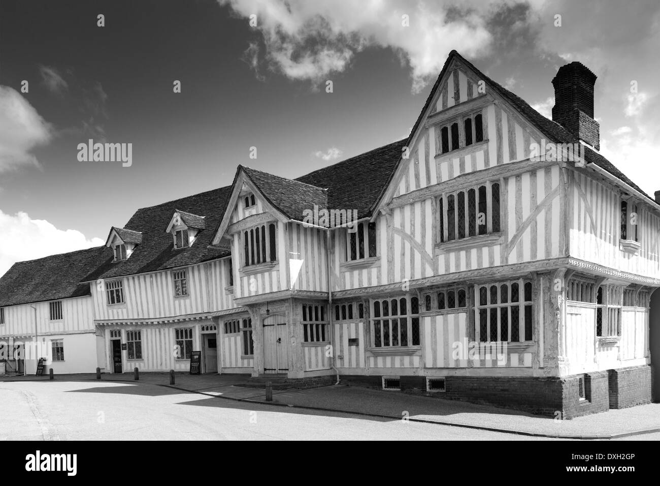 The Corpus Christi Guildhall, Market square, Lavenham village, Suffolk County, England, Britain. Built in the 16th century. - Stock Image