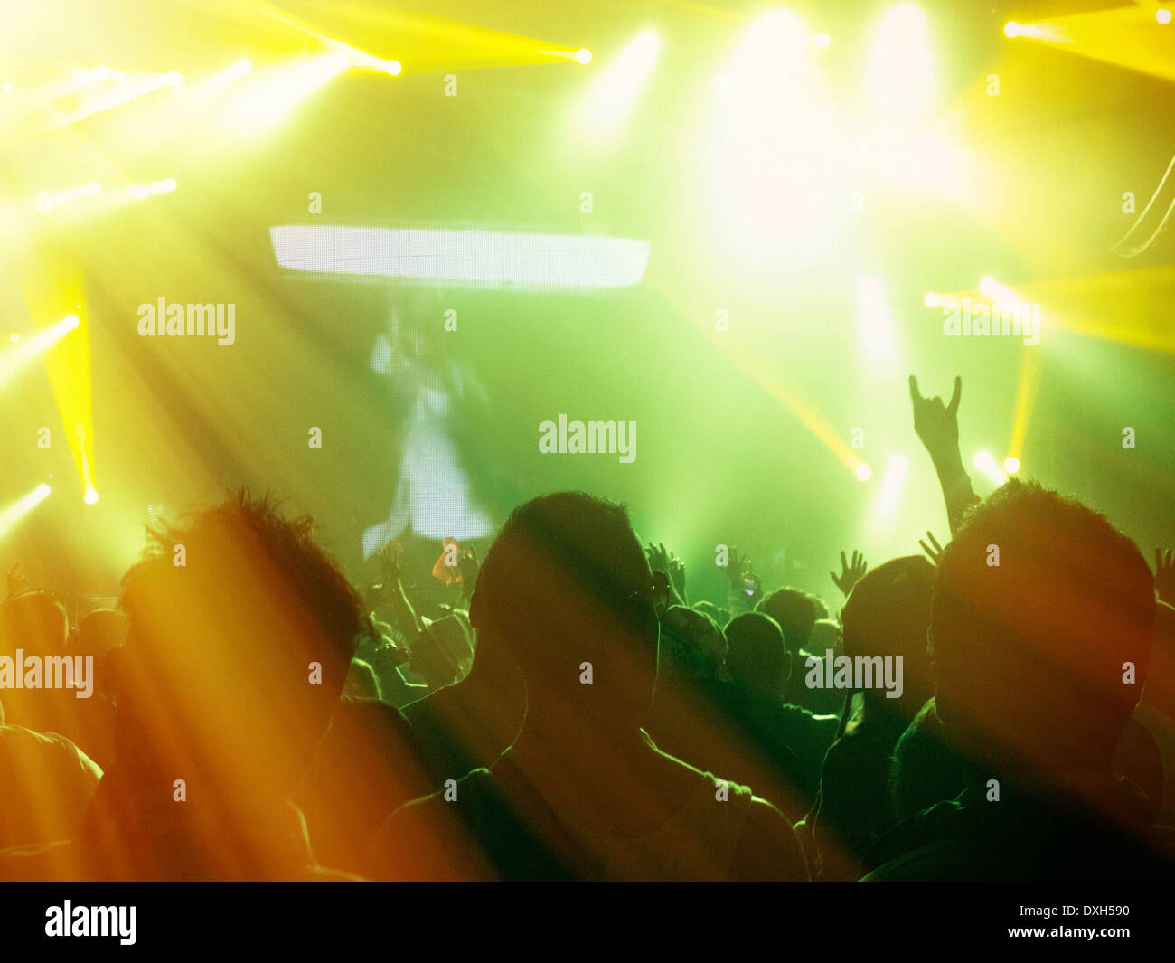 Silhouetted fans facing illuminated stage - Stock Image