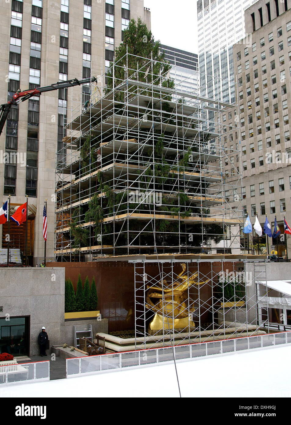 Rockefeller Christmas Tree 2020 Scaffolding Construction workers build a scaffold around the 2012 Rockefeller