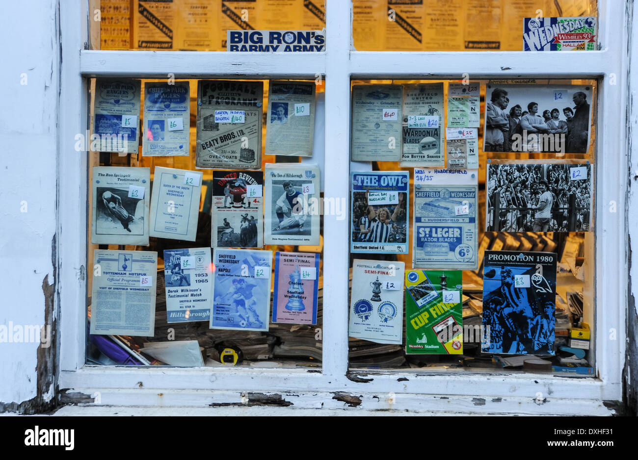 Shop selling old Sheffield Wednesday football programmes and memorabilia in Hillsborough area of Sheffield South Yorkshire - Stock Image