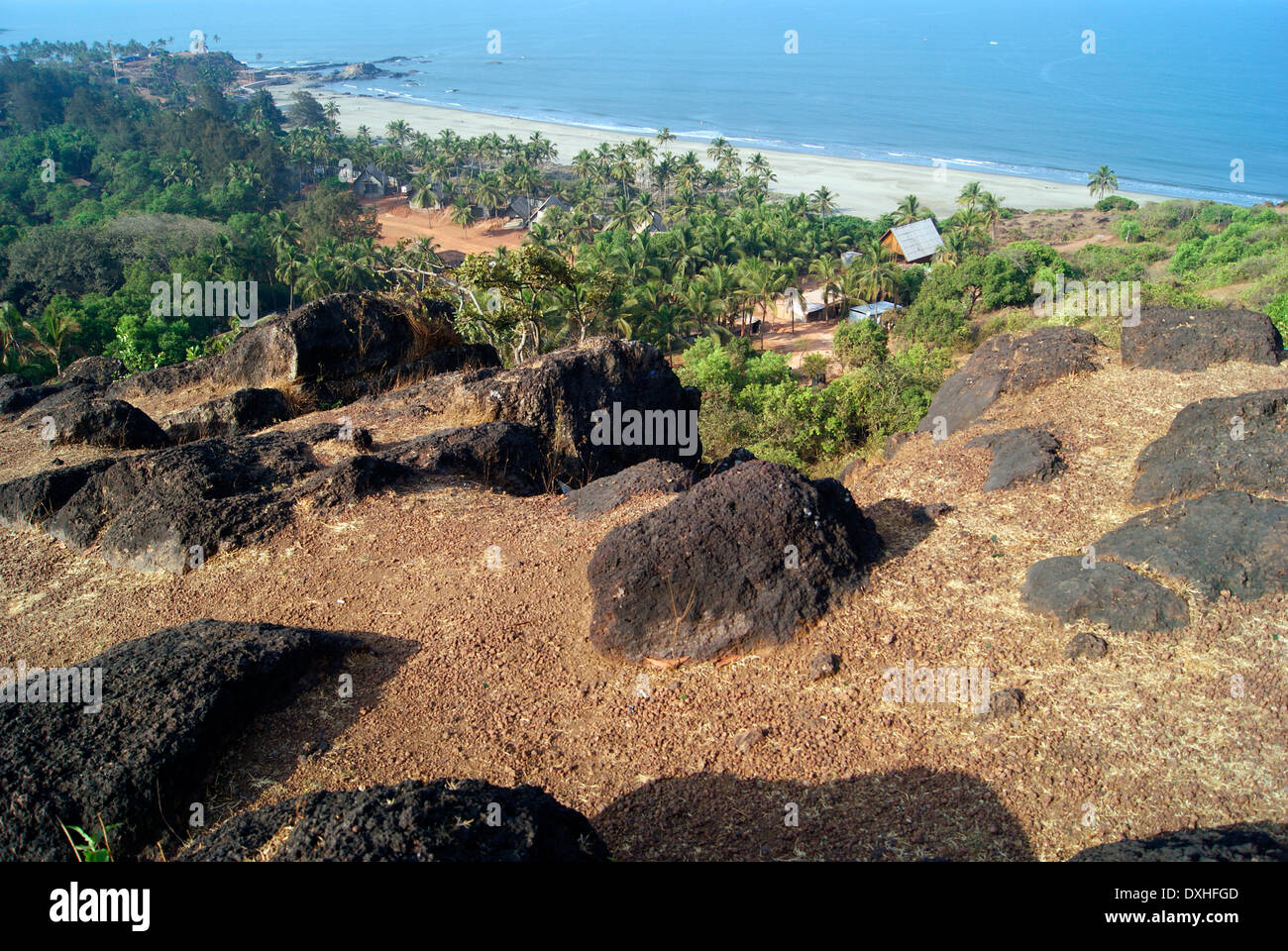 Goa Beach India Landscape view of Goa India from Rocky Cliff top - Stock Image