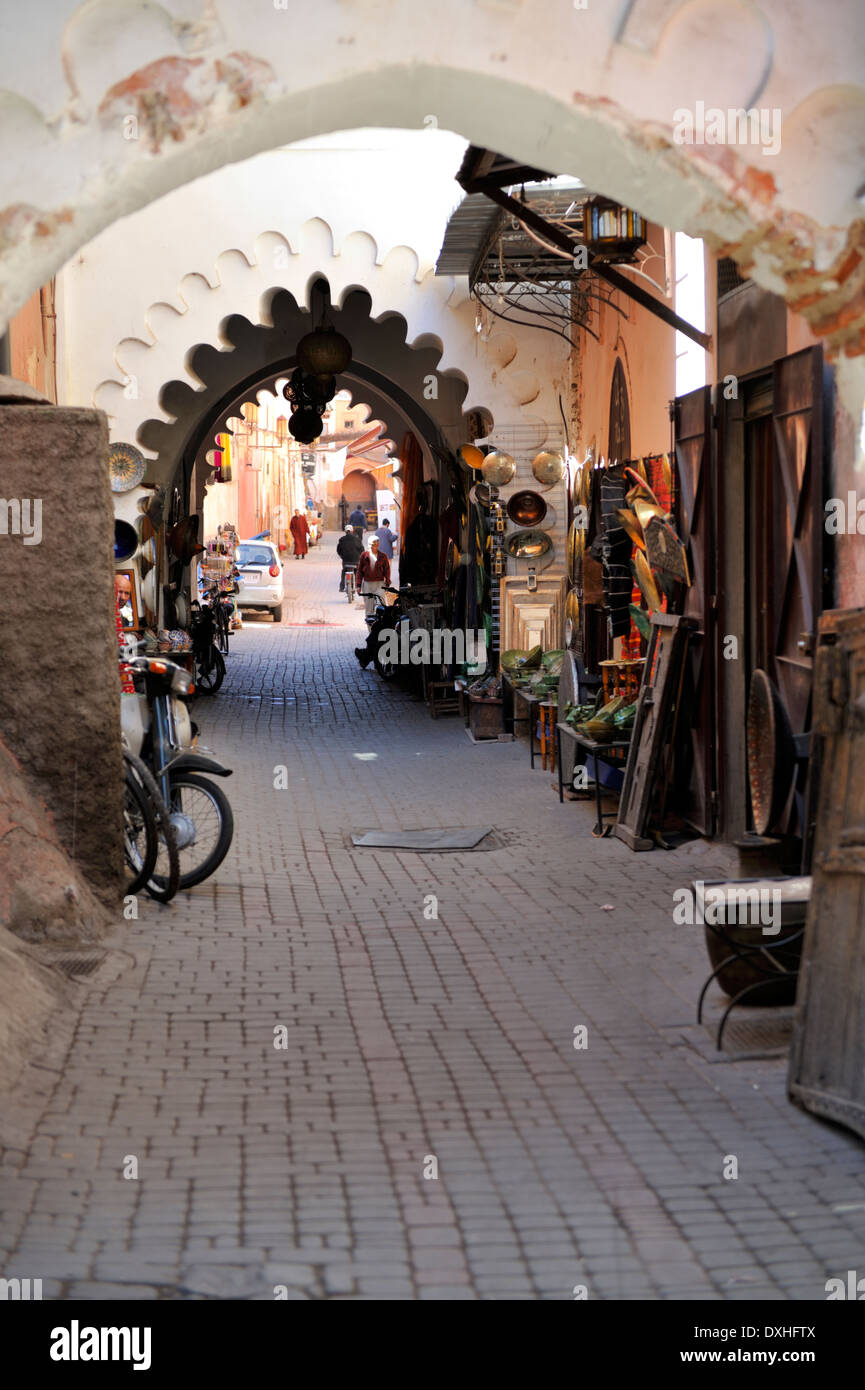 Passageway with arch Marrakech, Morocco - Stock Image