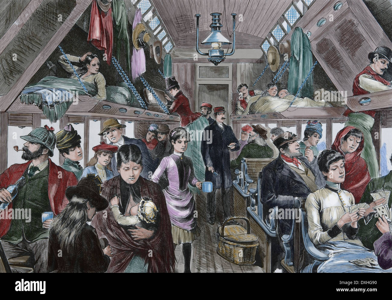 Old railroad car. Waggon with passengers. 19th century. Engraving (later colouration). - Stock Image