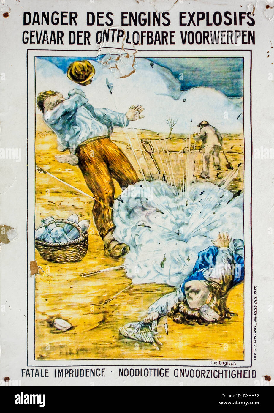 WWI poster warning civilians for danger of collecting World War One unexploded ordnance like bombs, shells, grenades in Belgium - Stock Image