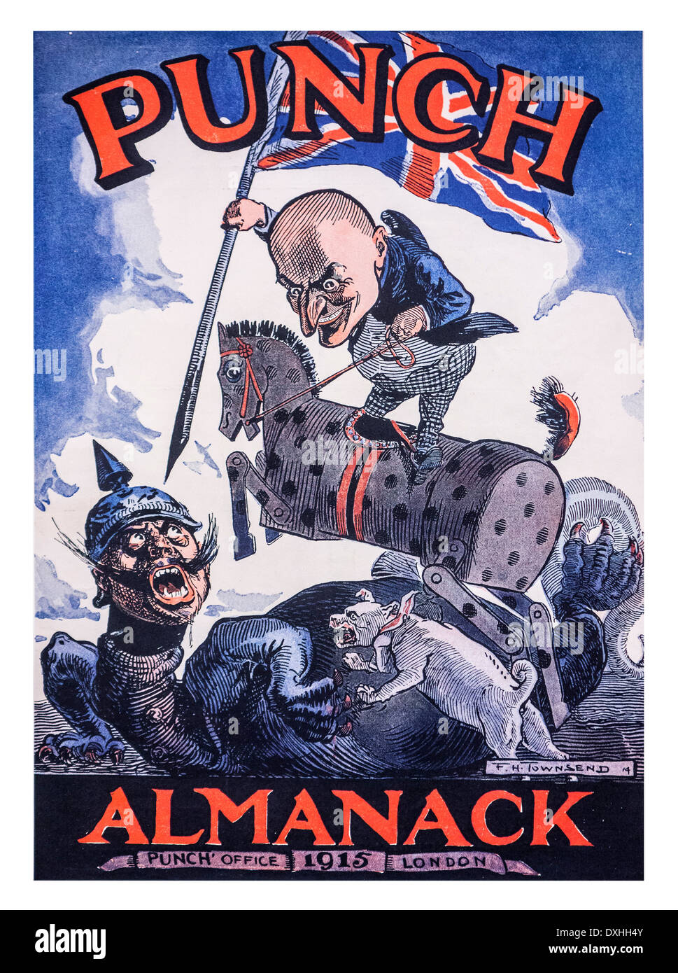 WWI British cartoon by F. H. Townsend for the 1915 Punch's Almanack front cover during the First World War One - Stock Image