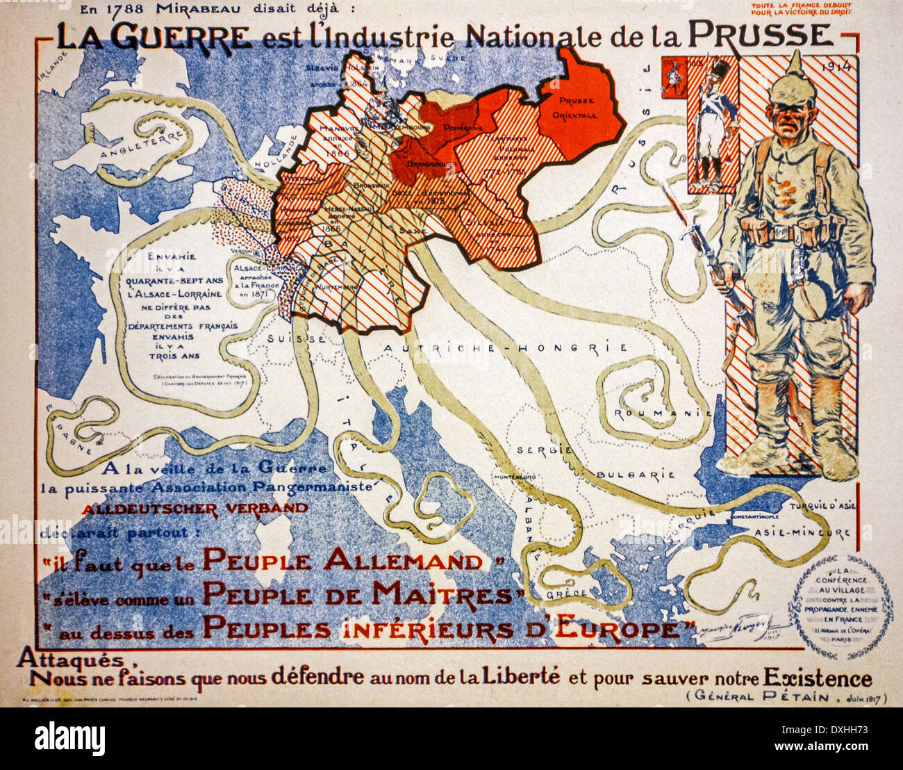 french vintage ww1 propaganda map from 1917 showing german invasion as giant octopus during the first