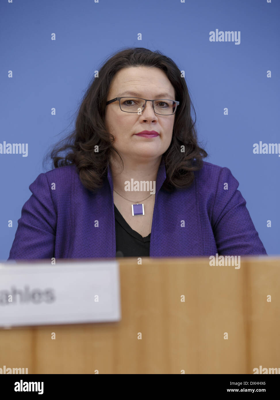 Berlin, Germany. 26th Mar, 2014. Interior minister Thomas de Maizière and labor Minister Andrea Nahles give a press conference on the topic 'Use of social security systems by EU citizens' in the House of the Federal press conference in Berlin./Picture: Andrea Nahles (SPD), German Minister of Labour and Social Affairs. Credit:  Reynaldo Paganelli/NurPhoto/ZUMAPRESS.com/Alamy Live News Stock Photo