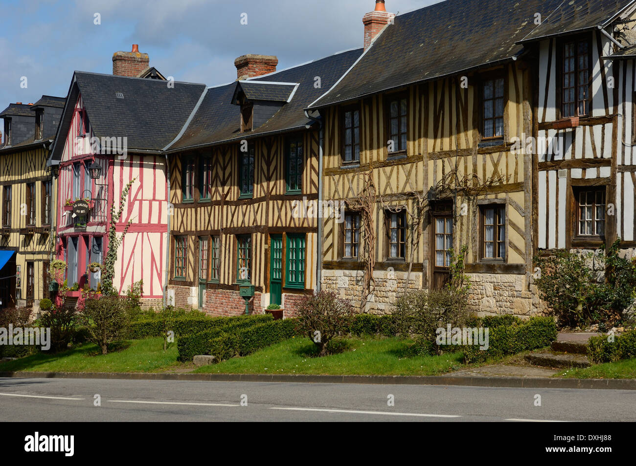 Le Bec-Hellouin village. Haute-Normandie region in northern France - Stock Image