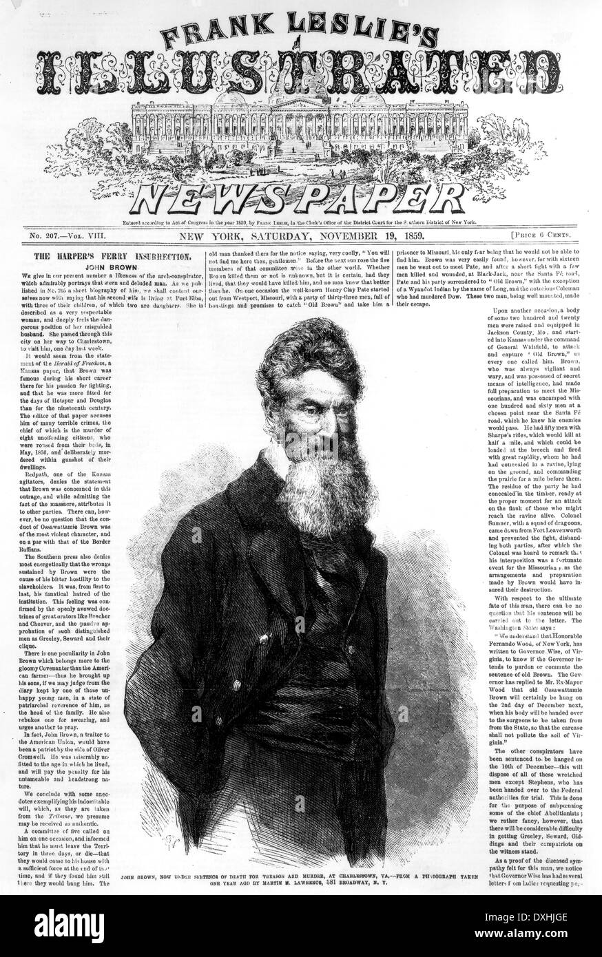JOHN BROWN (1800-1859) Newspaper report 19 November 1859 of the raid on the Federal armory at Harpers Ferry - Stock Image